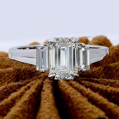 1.80 Ct 3-Stone Emerald Cut Diamond & Baguettes Engagement Ring G,VS1 GIA 14K WG