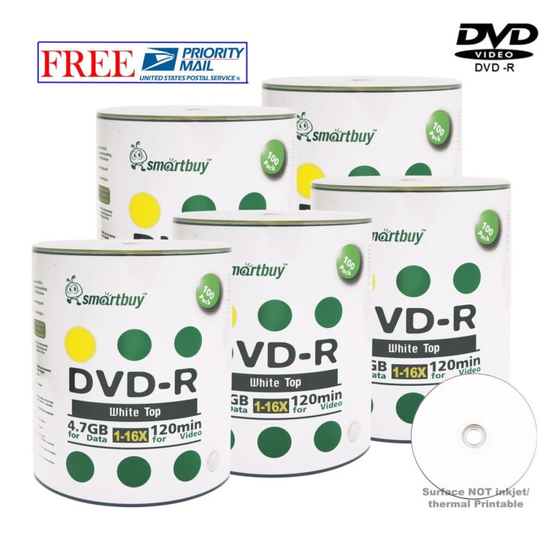 500 Pack Smartbuy Dvd-r 16x 4.7gb White Top Recordable Blank Disc Priority Mail