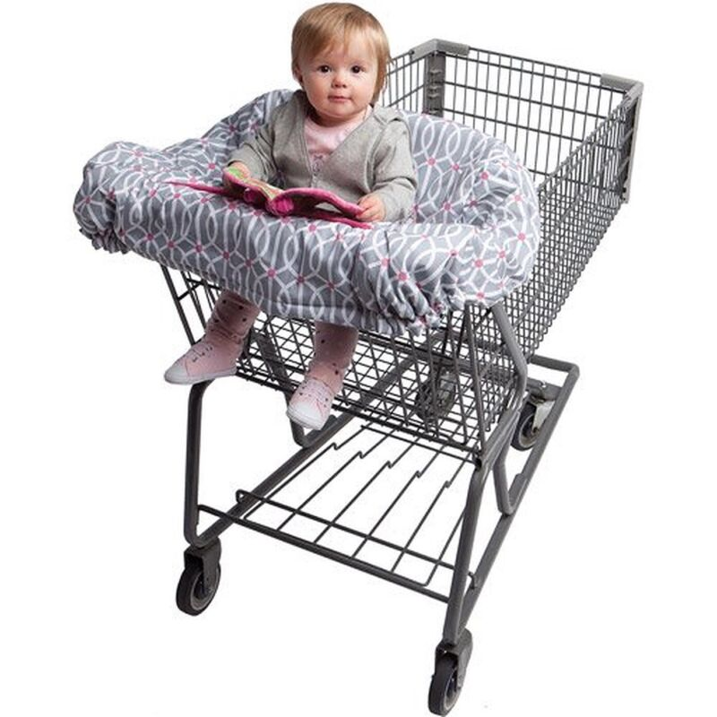 Boppy Shopping Cart and High Chair Cover Pink and Gray with Owls