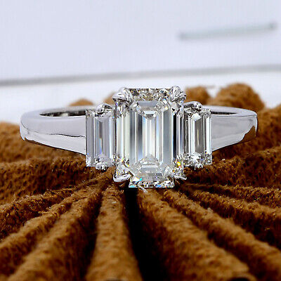 2.60 ct. 3 - Stone Emerald Cut Diamond Engagement Ring w/ Baguettes G, VVS1 GIA 1