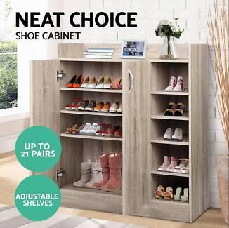 21 Pairs Wooden Shoe Cabinet Rack Storage Drawers Organiser Shelf
