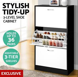 36 Pairs Wooden Shoe Cabinet Rack Storage Organiser Shelf 3 Compo