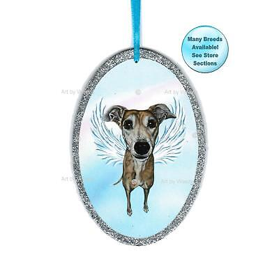 Brindle Greyhound Angel Ornament Dog With Wings Pet Memorial Christmas Ornament