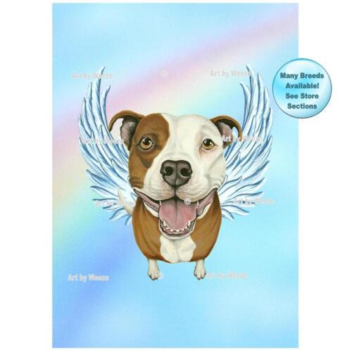 Pit Bull Angel Art Pet Memorial Dog With Angel Wings