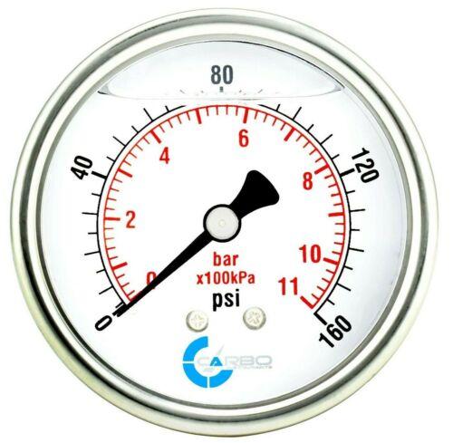 "2-1/2"" Pressure Gauge, ALL STAINLESS STEEL, Liquid Filled, Back Mnt, 160 Psi"