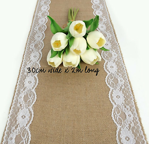 Hessian & Lace Wedding Table Runners for hire Macgregor Belconnen Area Preview