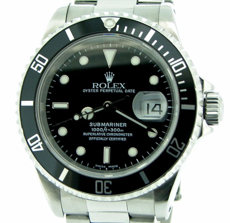 Mens Rolex Submariner Date Sub Stainless Steel Watch W/ Black Dial & Bezel 16610
