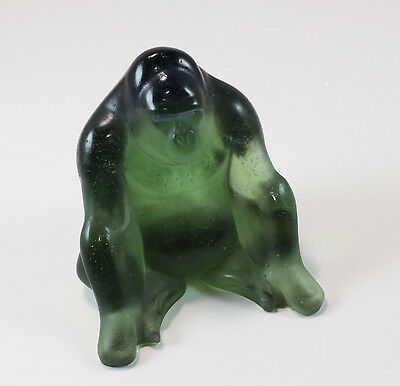 Rare Daum Green Pate de Verre Glass Gorill Paperweight Figuire