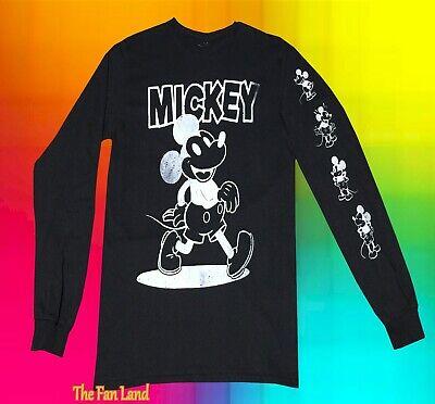 New Disney Mickey Mouse Long Sleeve Black Mens T-Shirt