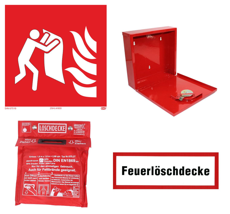 Feuerlöschdecke, Brandschutzzeichen, Hinweisschild oder Behälter für Löschdecken