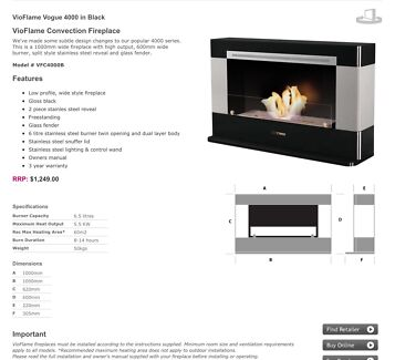 VIOFLAME Convection Fireplace heater Yangebup Cockburn Area Preview