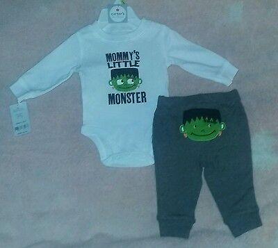 Carter's 3 Month Baby Boy Halloween MOMMY'S  LITTLE MONSTER Bodysuit & Pants Set