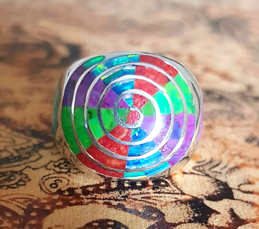 Multi-gemstone Spiral Rainbow Ring, Silver, Bright Colours, NEW