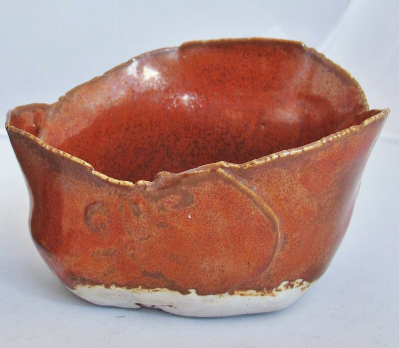 """Vintage Mid Century Signed ROSE DODDS Orange Studio Art Pottery Vase  (5.5"""")"""