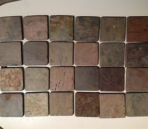 Natural Stone Slate Coasters Set Of Four With Full Cork Back