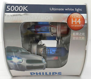 PHILLIPS H4 Halogen Bulbs 5000K 12v Headlight Globes, Ultimate White 60/55w NEW