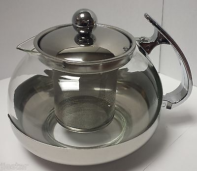 Stainless Steel Glass TEA POT --Teapot w. Stainless steel Strainer filter 700ML