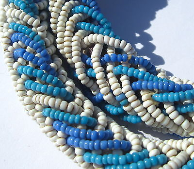 28  Necklace Of Rse Old Tiny Small Turquoise White Venetian Entwined Trade Beads