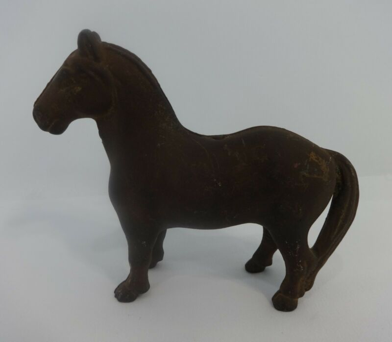 Antique Cast Iron Horse Coin Piggy Bank Metal