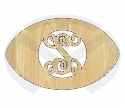 Unfinished Wood Football Door Hanger Laser Cutout w/ Your Initial, Home Decor