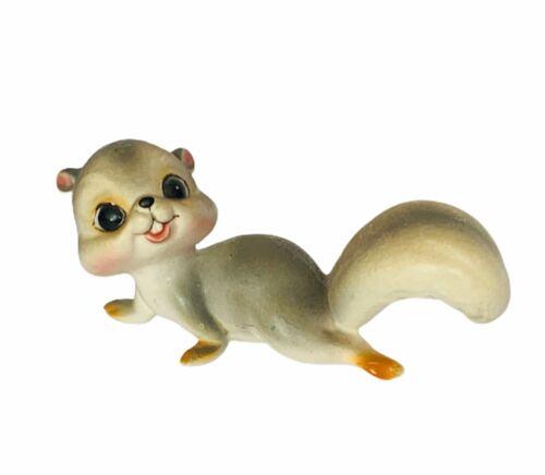 Squirrel figurine antique anthropomorphic chipmunk smile vtg bisque baby babies