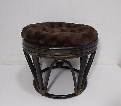 Vintage Round Bentwood Bamboo Ottoman Footstool Boho Chic Mid Century Modern