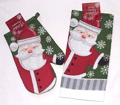 Sparkly SANTA CLAUS Snowflakes Christmas Kitchen Hand Towel Oven Mitt  Set NEW