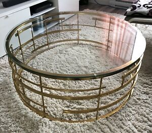 Table basse Or / vitre