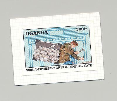 Uganda #977 Berlin Wall, Brandenburg Gate 1v Imperf Proof on Card