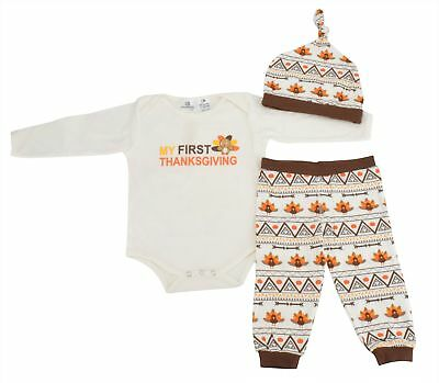 Boutique Baby First Thanksgiving Layette Outfit Unisex  Boy Girl newborn infant (First Thanksgiving Outfit Boy)