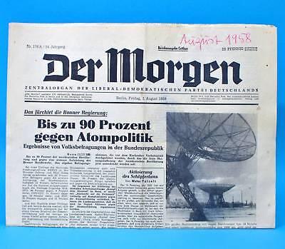 Der Morgen 1. August 1958 zum 61. Geburtstag Hochzeit 01.08.1958 DDR 1.8.1958