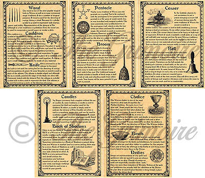 WICCAN RITUAL TOOLS & SUPPLIES, Book of Shadows Pages, Witchcraft, Altar Tools