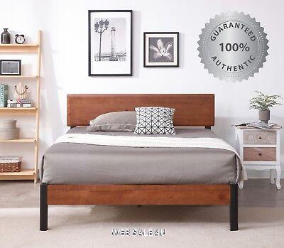 - Bed Frame QUEEN Size Solid Wood Headboard Metal Platform Studio Modern Mahogany