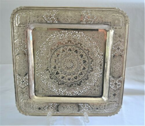 Vintage Middle Eastern 90%+ Silver Square Footed Tray