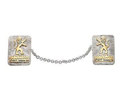 Sterling Silver & Gold Lion of Judah Prayer Shawl Tallit Clips w Jerusalem (Silver Tallit Clips)