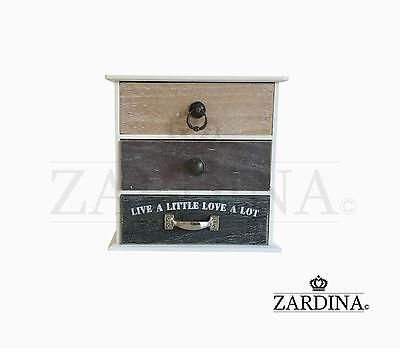 Paris - Decorative Wooden 3 Drawer Mini Storage Box