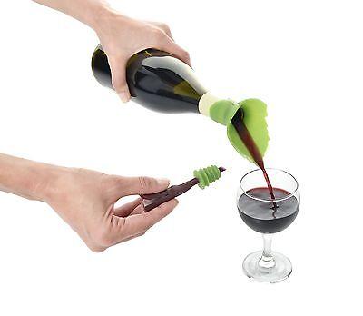 Leaf Wine Bottle Stoppers (Charles Viancin Grape Leaf Wine Bottle Pourer & Stopper Set )