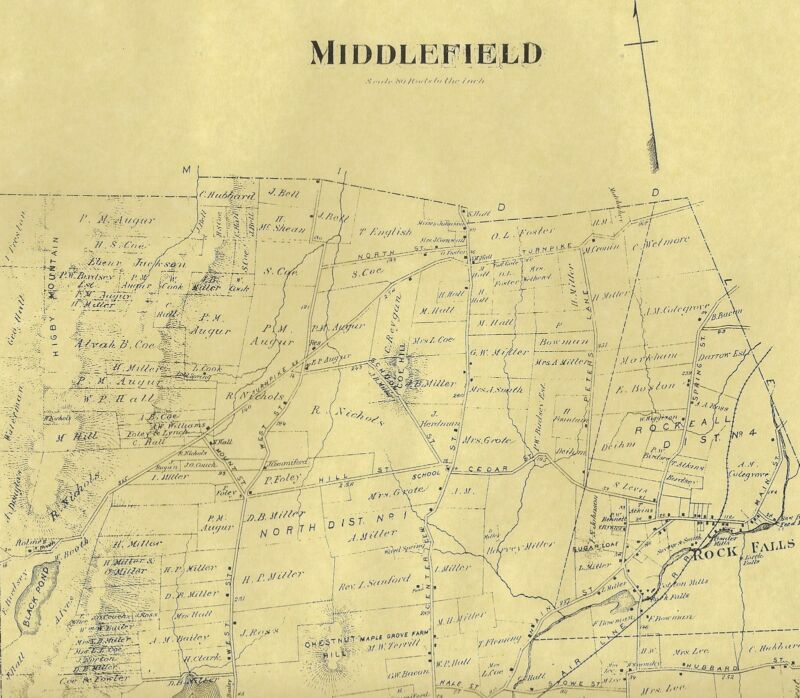 Middlefield Rock Fall Beseck Lake CT 1874  Maps with Homeowners Names Shown