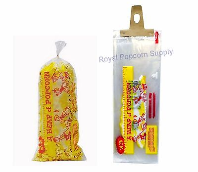 Pack Of 100 Heap O Corn 3 Oz Popcorn Bags 18  Long With Twist Ties Gold Medal