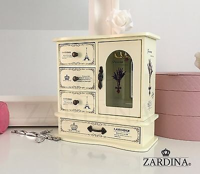 Lavender - Fairy Tale Wooden Jewellery Box Cabinet with 4 Drawers