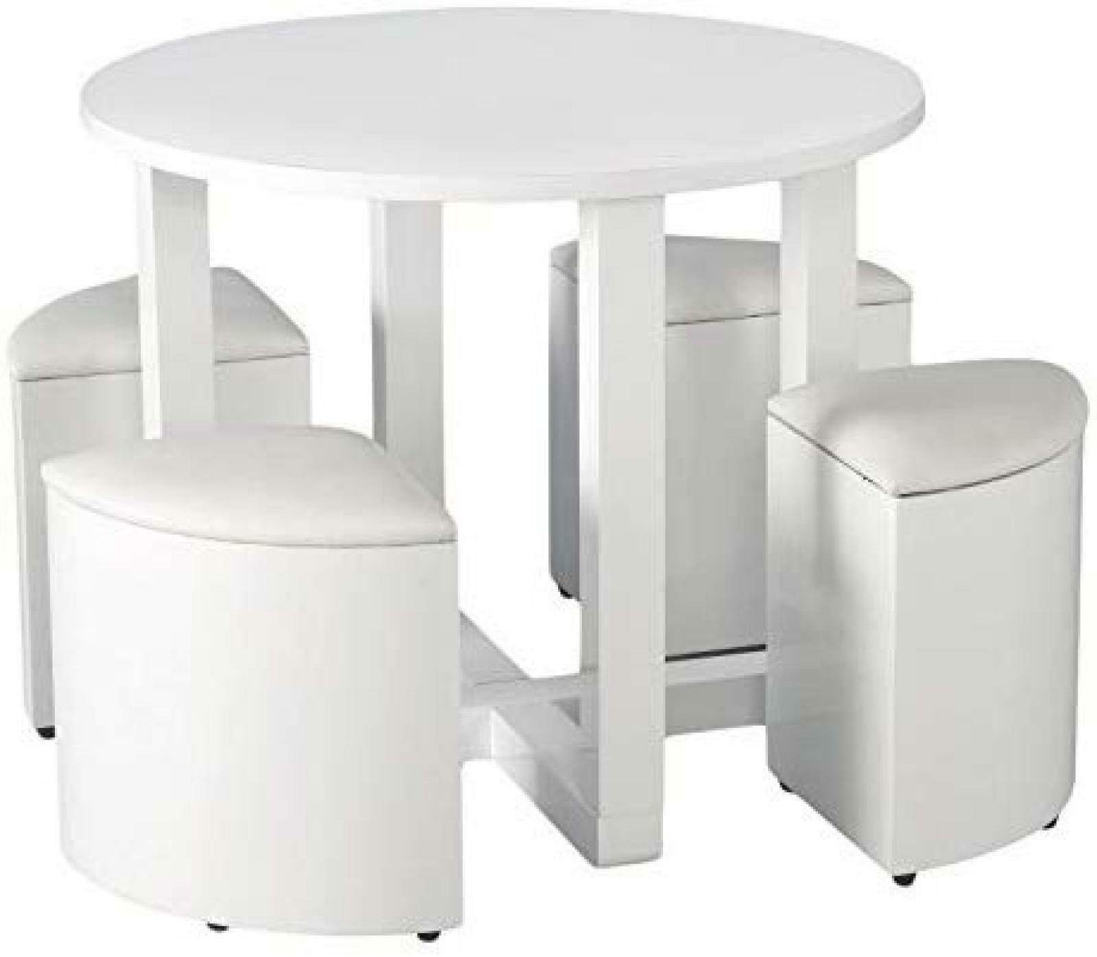 Space Saving Dining Wooden Table And 4 Chairs Set Small Space White Gloss Table Ebay