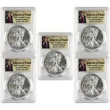 2017 $1 American Silver Eagle PCGS MS70 First Strike - Donald Trump - Lot of 5