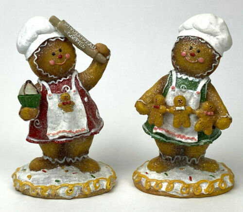 Retired VALERIE PARR 2 PIece Gingerbread Bakers Green & Red Making Cookies