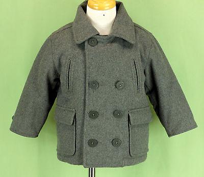 228 baby Gap toddler boy WOOL gray jacket pea coat double breasted collar EUC 2