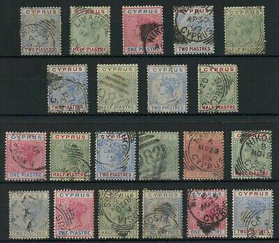 CYPRUS Queen Victoria 21 stamps...Postmarks etc..