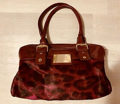 INNUE WINTER COLLECTION Purse Authentic Cow Hair Patent Leather Burgundy Satchel