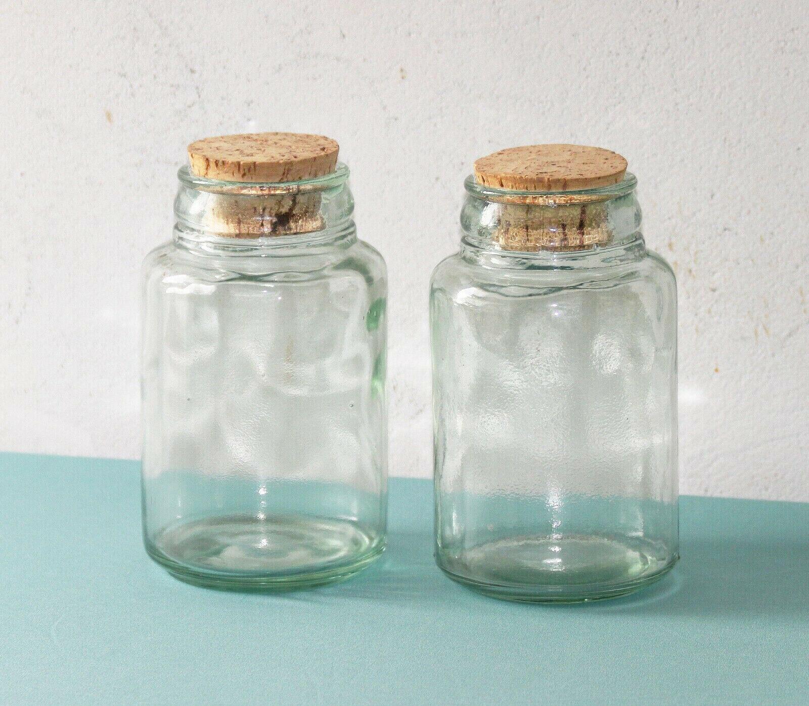 Lot de deux bocaux en verre épais bouchons en liège 17 cm