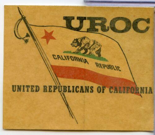 United Republicans Of California UROC Vintage Political Decal Rare - RC168