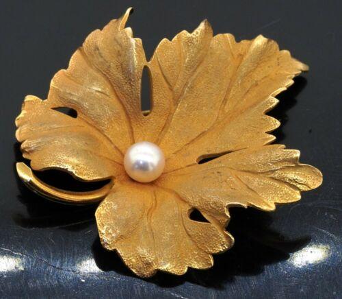 Tiffany & Co. vintage 14K yellow gold 4.8mm pearl leaf brooch