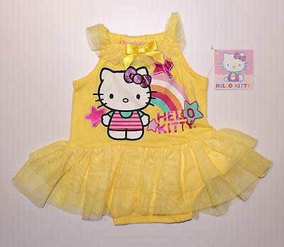 Babykleid~USA~50-56~Bodykleid~Body~Hello Kitty~Kleid~Mädchen~gelb~Kleidchen~tutu